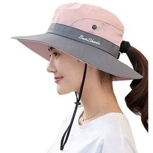 Womens Outdoor Sun Hat UV Protection Foldable Mesh